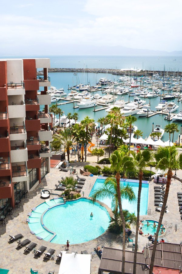 aerial outside view of pools at Ensenada hotel